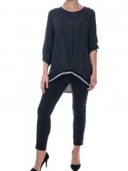 Ριγέ γκρι μακρυμάνικη μπλούζα με λάστιχο τελείωμα Forel