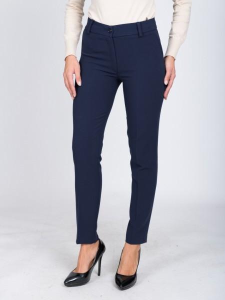 Μπλε ψηλόμεσο παντελόνι με κουμπί και φερμουάρ κλείσιμο, διακοσμητικά θηλάκια, ψεύτικες πλαϊνές τσέπες και πατιλέτες πίσω Forel