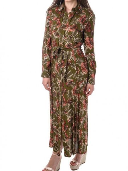 Εμπριμέ floral printed shirt look midi φόρεμα Hype