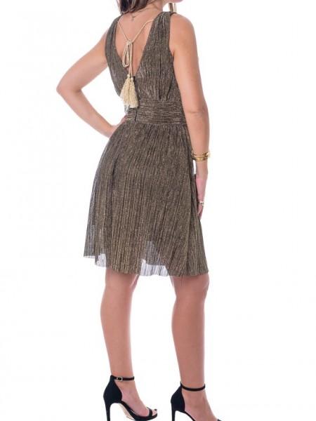 Χρυσό λούρεξ αμάνικο κοντό φόρεμα με μπάσκα στην μέση Hype