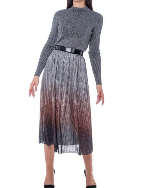 Ασημί-μπρονζέ  degrade midi φούστα με λάστιχο στην μέση Hype