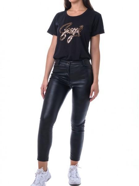 """Μαύρο κοντομάνικο t-shirt με τύπωμα παγιέτα χρυσή """"sugar"""" Hype"""
