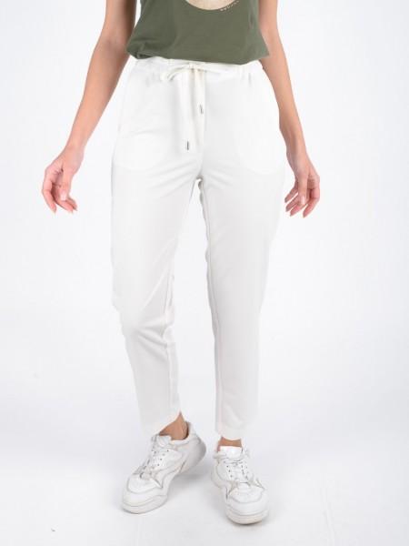 Εκρού ψηλόμεσο παντελόνι σε ίσια γραμμή, λάστιχο στη μέση και κορδόνι και πλαϊνές τσέπες Innocent