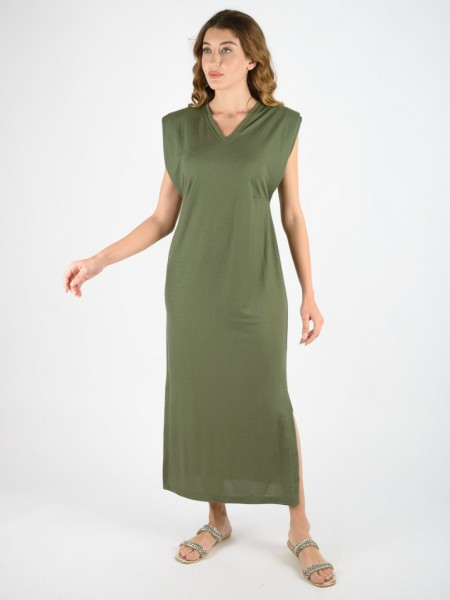 Χακί αμάνικο midi φόρεμα σε χαλαρή γραμμή με V-λαιμόκοψη, βάτες στους ώμους, μικρές ραφές στην μέση και ανοίγματα στα πλαϊνά Innocent