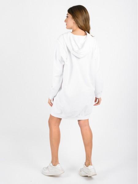 Λευκό μακρυμάνικο κοντό loose-fit φόρεμα φούτερ με μη αποσπώμενη κουκούλα, τσέπες μπροστά και εξωτερικό φερμουάρ στους ώμους Innocent