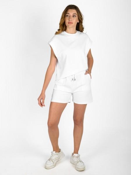 Λευκή κοντομάνικη φούτερ μπλούζα σε τετράγωνη γραμμή, με στρογγυλή λαιμόκοψη και μπάσκα στο τελείωμα Innocent