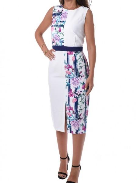 Λευκό floral printed midi αμάνικο φόρεμα Little Mistress