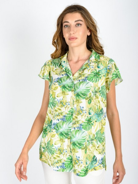 Εμπριμέ πράσινο κοντομάνικο πουκάμισο σε ίσια γραμμή με πέτο γιακά, βολάν μανίκια, κουμπιά κατά μήκος και μικρά ανοίγματα στο πλάι Lucifair