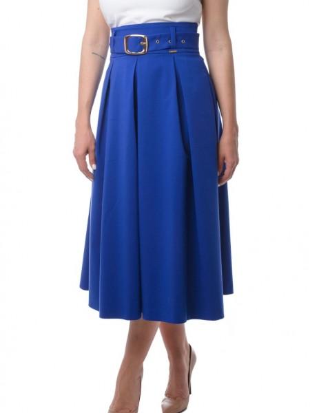 Μπλε ρουά ψηλόμεση φούστα midi με τσέπες Lui e lei