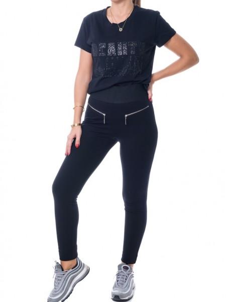 Μαύρο ψηλόμεσο παντελόνι-κολάν με λάστιχο στην μέση και φερμουάρ μπροστά Lui e Lei
