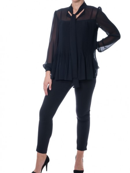 Μαύρη πλισσέ  μακρυμάνικη μουσελίνα μπλούζα Lui e lei