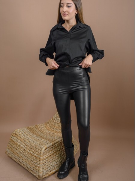 Μαύρο ψηλόμεσο faux-leather STATE παντελόνι-κολάν με εσωτερική επένδυση και λάστιχο στην μέση Mind Matter