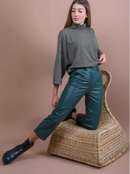 Πράσινο ψηλόμεσο faux-leather cropped παντελόνι σε Α-γραμμή, πλαϊνές τσέπες, μπάσκα στη μέση και κλείσιμο με φερμουάρ και κουμπί Mind Matter