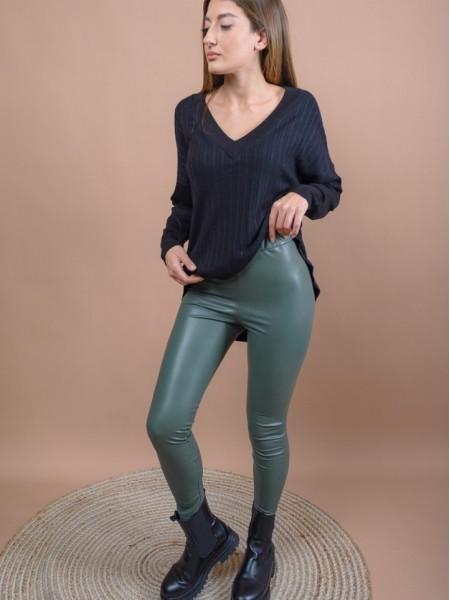 Χακί ψηλόμεσο faux-leather STATE παντελόνι-κολάν με εσωτερική επένδυση και λάστιχο στην μέση Mind Matter
