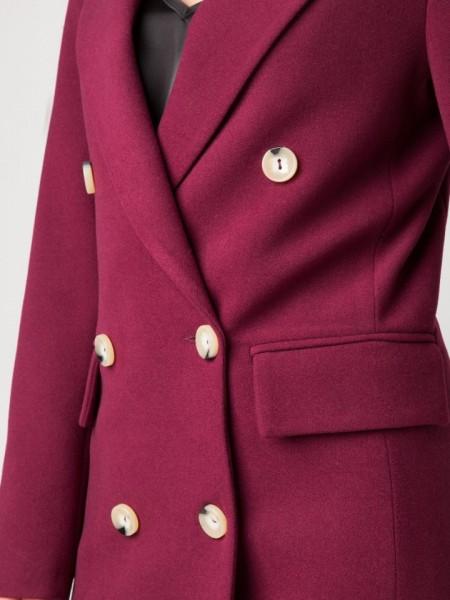 Δαμασκηνί σταυροκουμπωτό Jade παλτό σε ίσια γραμμή με μπροστινές τσέπες Mind Matter