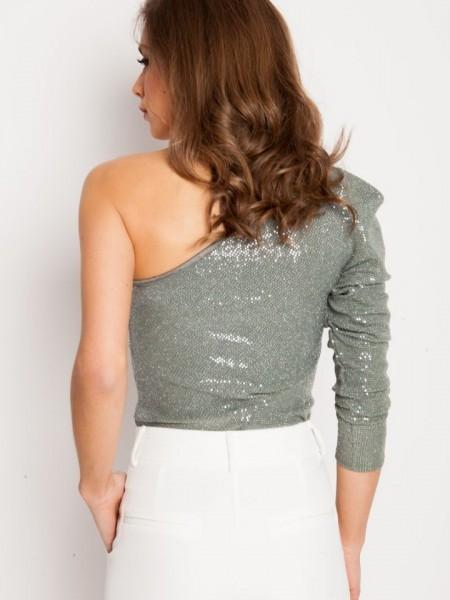 Λαδί μπλούζα Mena με έναν ώμο έξω και με φουσκωτό μακρύ μανίκι από ιριδίζουσα παγιέτα Mind Matter