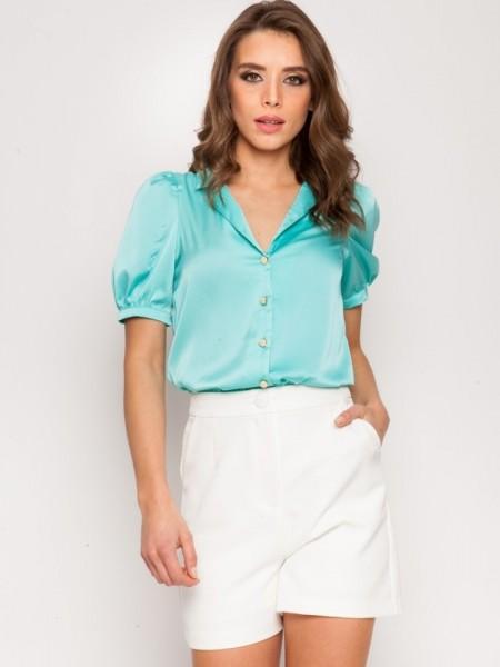Μέντα κοντομάνικο Adelaida σατέν πουκάμισο με φουσκωτά μανίκια, πέτο γιακά και κουμπιά με πέρλα MInd Matter
