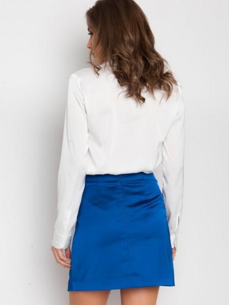 Μπλε ρουά Alcina ψηλόμεση σατέν κοντή φούστα με βολάν μπροστά Mind Matter