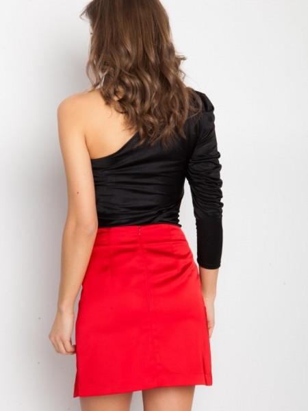 Κόκκινη Alcina ψηλόμεση σατέν κοντή φούστα με βολάν μπροστά Mind Matter