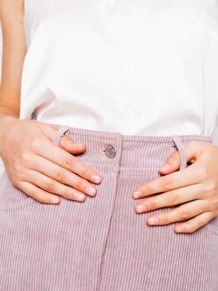 Λιλά κοντή φούστα Alita  με τσέπες μπροστά - πίσω και κλείσιμο με κουμπί και φερμουάρ Mind matter