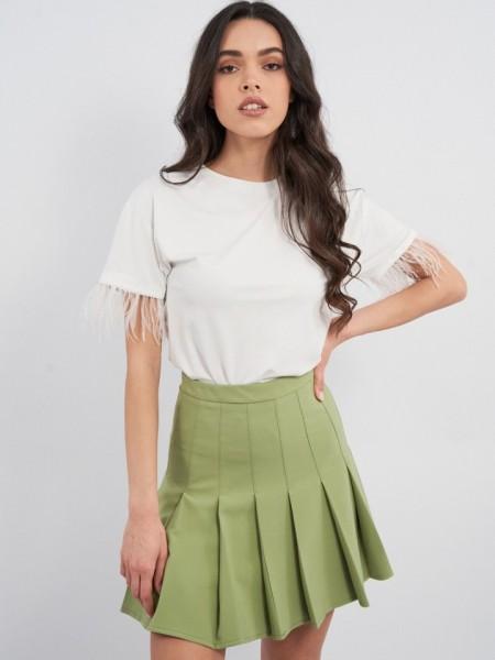 Πράσινη κοντή GRETA φούστα σε Α-γραμμή, με πιέτες και κρυφό φερμουάρ πίσω Mind Matter