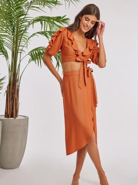Εκάι λινή κρουαζέ midi HOLLAND φούστα με ασυμμετρία μπροστά και δέσιμο στο πλάι Mind Matter