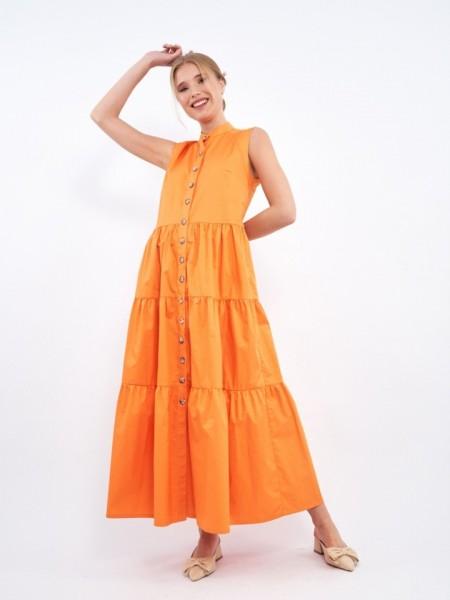 Πορτοκαλί LIZ αμάνικο midi φόρεμα με μάο γιακά, κουμπιά κατά μήκος και βολάν σε επίπεδα Mind Matter