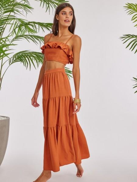 Εκάι λινή ψηλόμεση maxi OPALE φούστα σε κλος γραμμή, μπάσκα στη μέση, βολάν σε επίπεδα και κλείσιμο με φερμουάρ πίσω Mind Matter