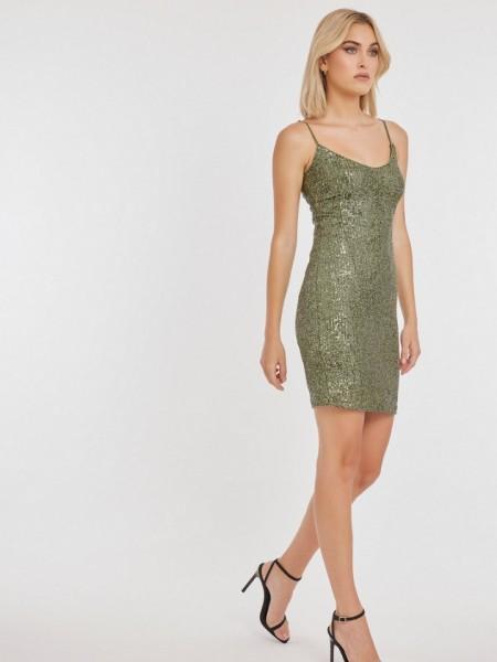 Πράσινο αμάνικο κοντό παγιετένιο φόρεμα PARTY σε εφαρμοστή γραμμή και με λεπτή ρυθμιζόμενη τιράντα Mind Matter