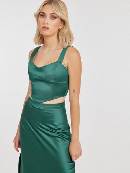 Πράσινο αμάνικο PHYLLIS cropped top με σατέν όψη και κλείσιμο με φερμουάρ στην πλάτη Mind Matter