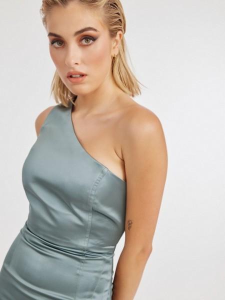 Χακί ματ σατέν κοντό φόρεμα REBECCA με έναν ώμο και μικρό άνοιγμα στο τελείωμα Mind Matter