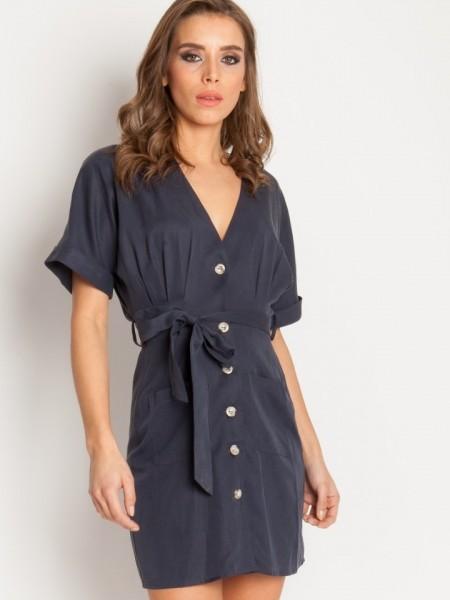 Μπλε Robin κοντομάνικο κοντό shirt-look φόρεμα με εξωτερικές μπροστινές τσέπες και αποσπώμενη ζώνη στην μέση Mind Matter