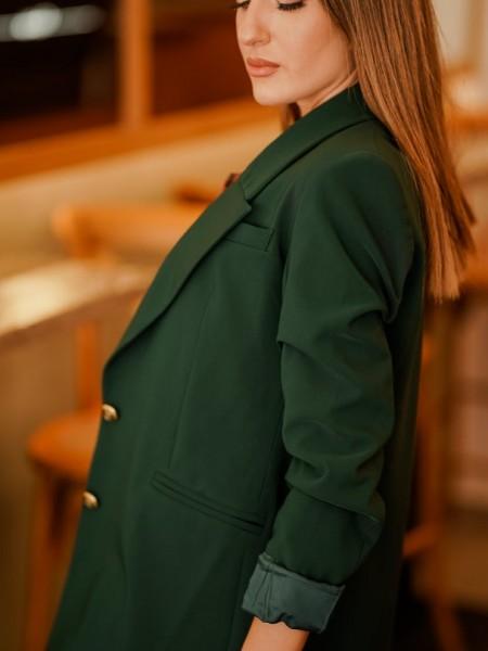 Πράσινο μακρύ loose-fit THIERRY σακάκι με μεγάλα πετά, τσέπες φιλέτο και χρυσά κουμπιά Mind Matter