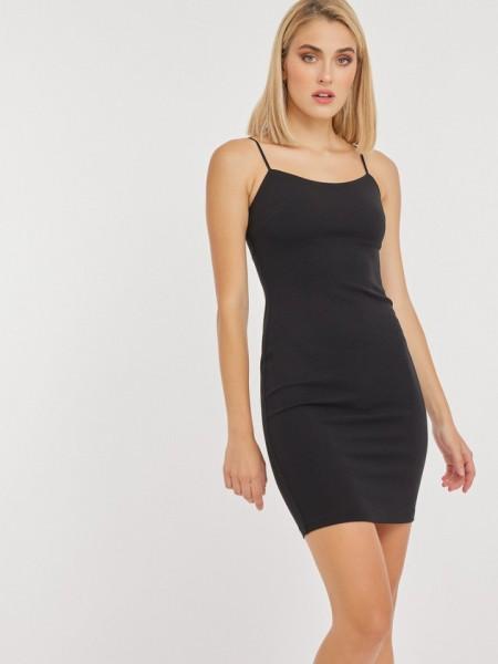 Μαύρο αμάνικο κοντό SPAGHETTI φόρεμα σε εφαρμοστή γραμμή, με λεπτή ρυθμιζόμενη τιράντα και κλείσιμο με κρυφό φερμουάρ στο πλάι Mind Matter