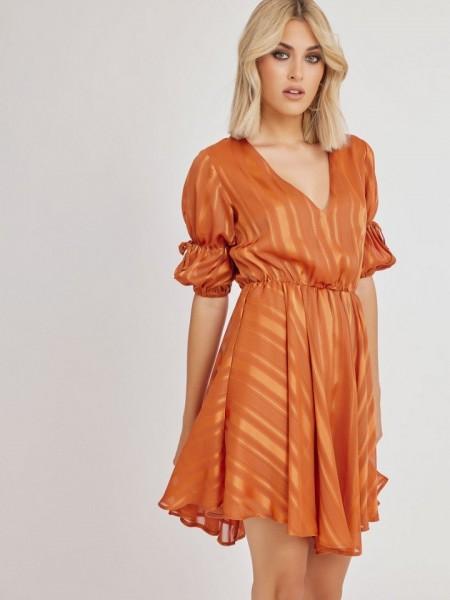 Εκάι κοντομάνικο κοντό φόρεμα STRIPY με ρίγα στην ύφανση, λάστιχο στην μέση και ελαφριά ασυμμετρία στα πλαϊνά Mind Matter