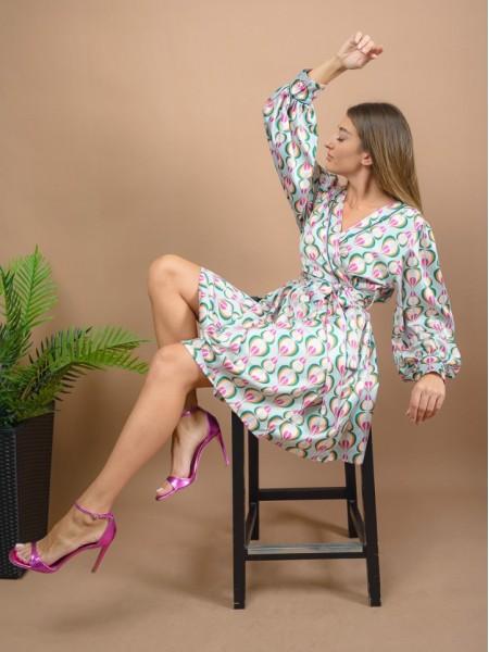 Εμπριμέ μέντα μακρυμάνικο κρουαζέ κοντό φόρεμα με φαρδιά μανίκια και μη αποσπώμενη ζώνη Never on Sunday