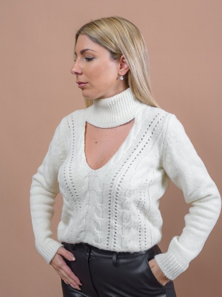 Εκρού μακρυμάνικη πλεκτή μπλούζα με ζιβάγκο λαιμόκοψη, άνοιγμα μπροστά, τετράγωνη γραμμή, κοτσίδα και διάτρητη πλέξη στην ύφανση Never on Sunday