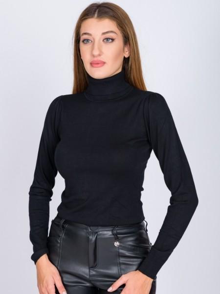 Μαύρη μακρυμάνικη πλεκτή μπλούζα basic με ζιβάγκο λαιμόκοψη και μικρές σούρες στους ώμους Access