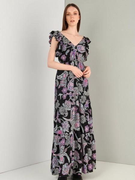 Εμπριμέ μαύρο αμάνικο maxi φόρεμα με φαρδιά τιράντα, βολάν μανίκια, λάστιχο στην μέση και βολάν στο τελείωμα Ale