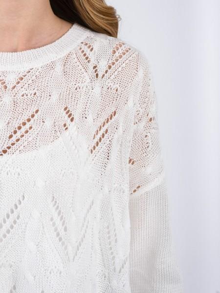 Λευκή μακρυμάνικη πλεκτή μπλούζα με διάτρητη πλέξη, στρογγυλή λαιμόκοψη και μικρό άνοιγμα στο πλάι χαμηλά Ale