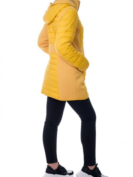 Μουσταρδί μακρύ μπουφάν με αποσπώμενη κουκούλα και λεπτομέρειες τρουκς Rever