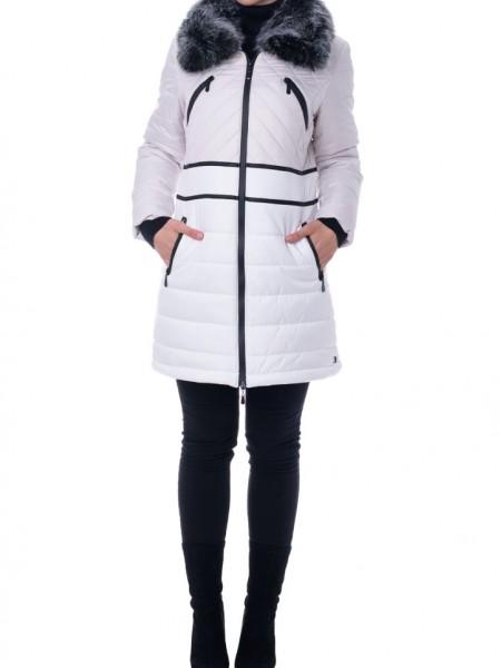 Δίχρωμο Λευκό-Μπεζ μακρύ μπουφάν με γούνινο γιακά, μαύρες δερμάτινες λεπτομέρειες και τσέπες μπροστά Rever