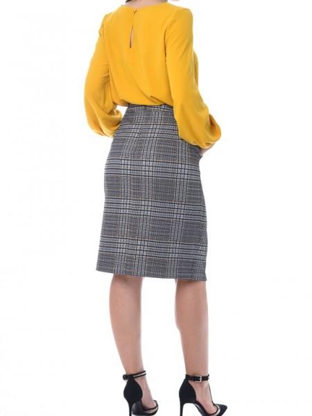Καρό μουσταρδί pencil midi φούστα και τσέπες και ζώνη Vagias