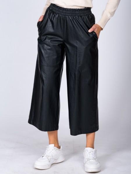Μαύρη ψηλόμεση faux leather ζιπ-κυλότ με λάστιχο στην μέση, πλαινές τσέπες και διακοσμητικά εξώραφα Vener