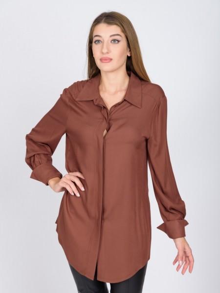 Ταμπά μακρυμάνικο πουκάμισο σε ίσια γραμμή, πέτο γιακά, κρυφό κούμπωμα με κουμπιά κατά μήκος και γυριστή μανσέτα Vener