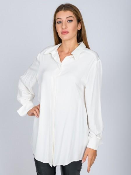 Εκρού μακρυμάνικο πουκάμισο σε ίσια γραμμή, πέτο γιακά, κρυφό κούμπωμα με κουμπιά κατά μήκος και γυριστή μανσέτα Vener