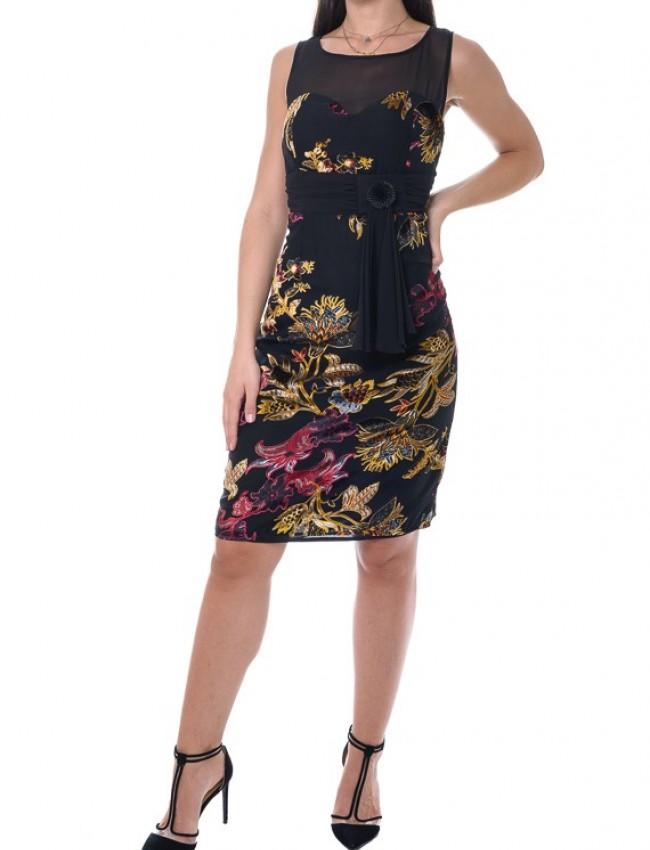Εμπριμέ μαύρο αμάνικο φόρεμα από μουσελίνα με κόμπο στην μέση και βελουτέ λεπτομέρειες Vener