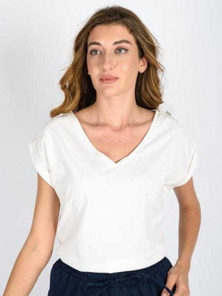 Εκρού αμάνικη βαμβακερή μπλούζα με λαιμόκοψη, επωμίδες με διακοσμητικό κουμπί στους ώμους και γυριστό ρεβέρ στο τελείωμα στο μανίκι Vener