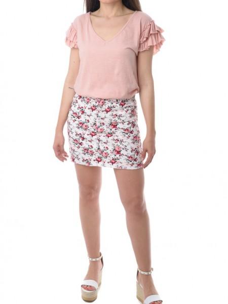 Ροζ κοντομάνικη μπλούζα με V λαιμόκοψη και βολάν White 22