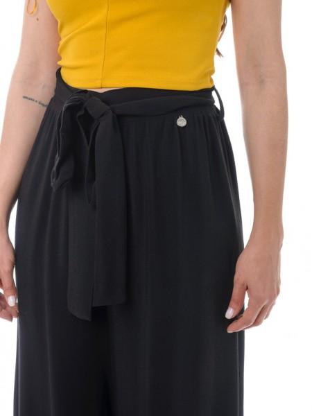 Μαύρη ψηλόμεση παντελόνα με λάστιχο στην μέση White22